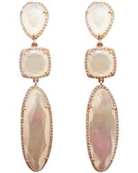 Ri Noor - White Mother Of Pearl Diamond Earrings - Lyst