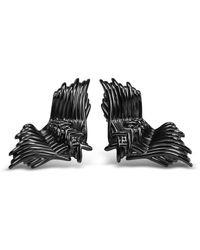 Bellus Domina Angel Wings Stud Earrings - Black