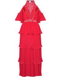 True Decadence Raspberry Pleated Halterneck Maxi Dress - Pink