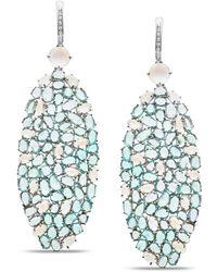 Trésor Rainbow Moonstone Paraiba Tourmaline & Diamond Earring In 18k White Gold - Blue