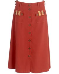 relax baby be cool A-line Wool Button Up Midi Skirt With Pockets Burgundy - Red