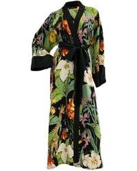 niLuu Monroe Women's Kimono Robe - Green