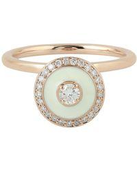 Artisan - 18k Rose Gold Pave Diamond Enamel Ring Handmade Jewelry - Lyst