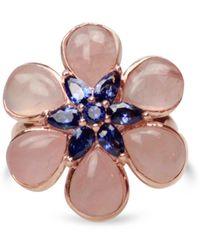 Bellus Domina Rose Quartz Flower Ring - Multicolor