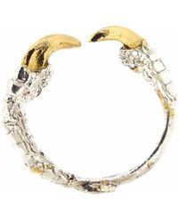 Tessa Metcalfe Single Claw Ring With Gold Nails Silver - Metallic