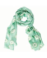 Pink House Mustique Lotty B Silk Charmeuse Long Scarf - Green