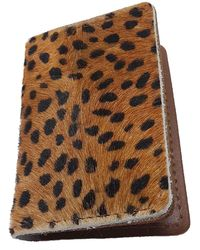 N'damus London - Cheetah Print & Tan Leather Credit Card Holder - Lyst