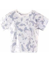 OKAYLA Cropped Camo Print T-shirt - White