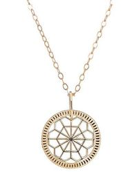 One and One Studio - Geometric Cut Out Disc Pendant In Gold With Chain - Lyst