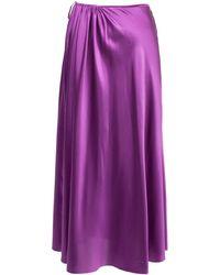 Lake Studio Pleated A-line Midi Skirt - Purple