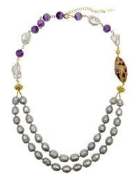Farra White & Grey Freshwater Pearls With Amethyst Double Strands Necklace - Gray
