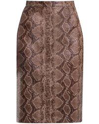 Rumour London Sandy Snake Skin Faux Leather Pencil Skirt - Multicolour