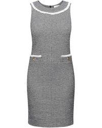 Rumour London Emilia Checked Cotton Tweed Dress With Fringed Neckline Detail - Grey