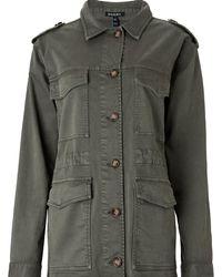 Baukjen Ira Utility Jacket In Washed Khaki - Green