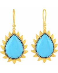 Meghna Jewels - Flame Earrings Turquoise & Diamonds - Lyst