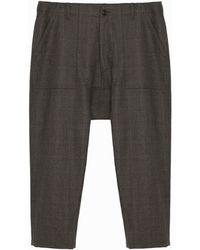 Lindsay Nicholas New York Maverick Drop Crotch Trouser In Camel Plaid - Brown