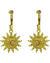 Annabelle Lucilla Jewellery Hammered Moon Coin Hoops - Metallic