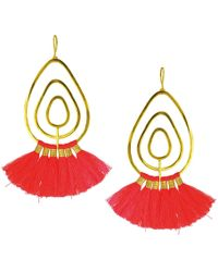 Ottoman Hands - Coral Tassel Gold Statement Earrings - Lyst
