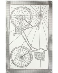 Pink House Mustique Lotty B Sarong In Silk Chiffon: Bicycle - Grey