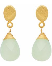 Carousel Jewels - Textured Gold Nugget & Chalcedony Drop Earrings - Lyst