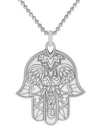 CarterGore Large Silver Hamsa Hand Pendant Necklace - Metallic