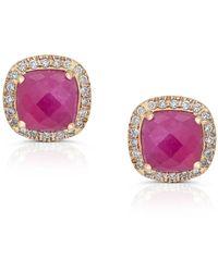 Trésor Ruby & Diamond Earring In 18k Yellow Gold - Red