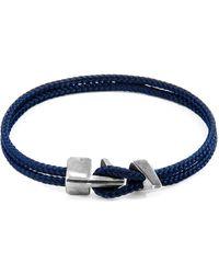 Anchor & Crew Navy Blue Brixham Silver & Rope Bracelet