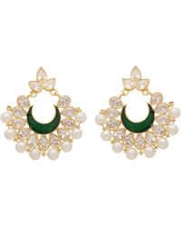 Carousel Jewels - Intricate Pearl Cluster & Green Crystal Earrings - Lyst