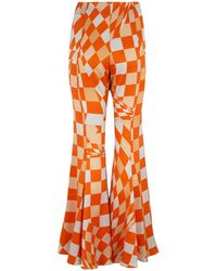 Klements Fleet Flares In Labyrnth Print - Orange