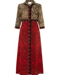 Hayley Menzies Crocodile Long Shirt Dress - Red