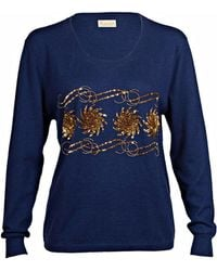 Asneh - Sequin & Bead Embellished Krystle Cashmere Sweater In Blue - Lyst