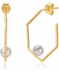 Neola - Minerva Gold Earrings With Grey Pearl - Lyst