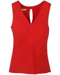 Haris Cotton Linen Sleeveless Top - Red