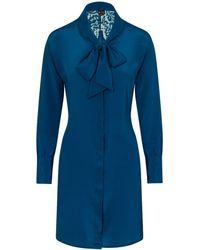 Sophie Cameron Davies Teal Silk Bow Dress - Green