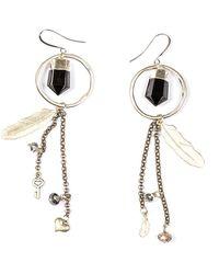 Tiana Jewel Holly Onyx Quartz Hoop Tassel Charm Earrings - Black