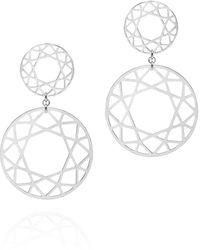 Myia Bonner - Silver Double Drop Brilliant Diamond Earrings - Lyst