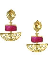 Ottoman Hands - Artemis Ruby Drop Earrings - Lyst