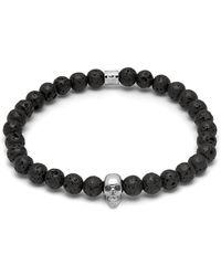 Northskull Lavastone & Silver Atticus Skull Bracelet - Metallic