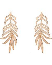 LÁTELITA London Feathered Leaf Statement Drop Earring Rosegold - Multicolour