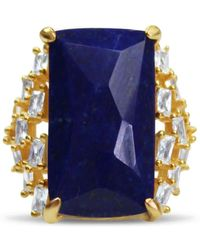 Bellus Domina Gold-plated Silver Lapis Lazuli Cocktail Ring - Blue