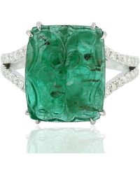 Artisan 18kt Solid White Gold Natural Carving Emerald Diamond Ring - Green