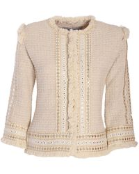 The Extreme Collection - Cream Short Classic Jacket Belen - Lyst