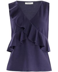 Paisie - V-neck Top With Ruffle Overlay In Indigo - Lyst