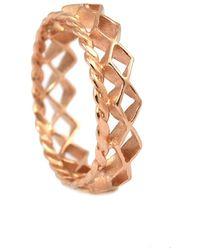 Annabelle Lucilla Jewellery Mini Diamond Stacking Ring Rose Gold - Metallic