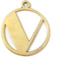 Alice Eden - Gold Deco Initial V Pendant Necklace - Lyst