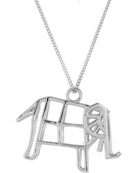 Origami Jewellery - Sterling Silver Frame Elephant Origami Necklace - Lyst