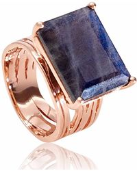 Neola - Pietra Rose Gold Cocktail Ring With Labradorite - Lyst