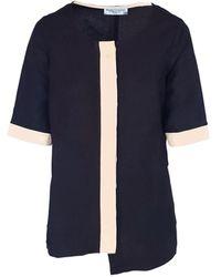 Haris Cotton Linen Blend Blouse With Front Buttons - Black