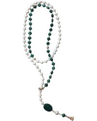 Farra Natural Freshwater Pearls & Malachite Multi-ways Necklace - Multicolour