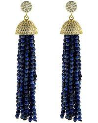 Cosanuova - Sterling Silver Lapis Tassel Earrings In Yellow - Lyst